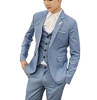 GodeyesW メンズセット3ピースファッション様々な色紳士ドレスウェストコート Light Blue 2XL