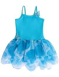 バレエレオタード 子ども  女の子 肩紐 スカート付きレオタード 可愛い練習着 蝶 キャミ型  バレエウェア