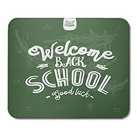 マウスパッドボードカラフルなアルファベットようこそ学校L幸運グリーン黒板本棚マウスマットマウスパッド
