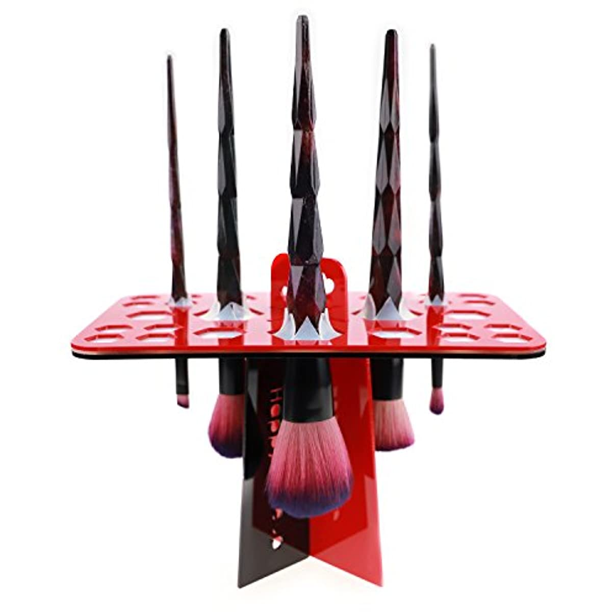 退却剛性擁するメイクブラシスタンド 赤 化粧ブラシスタンド アクリル製 折畳み可 26本収納 レッド