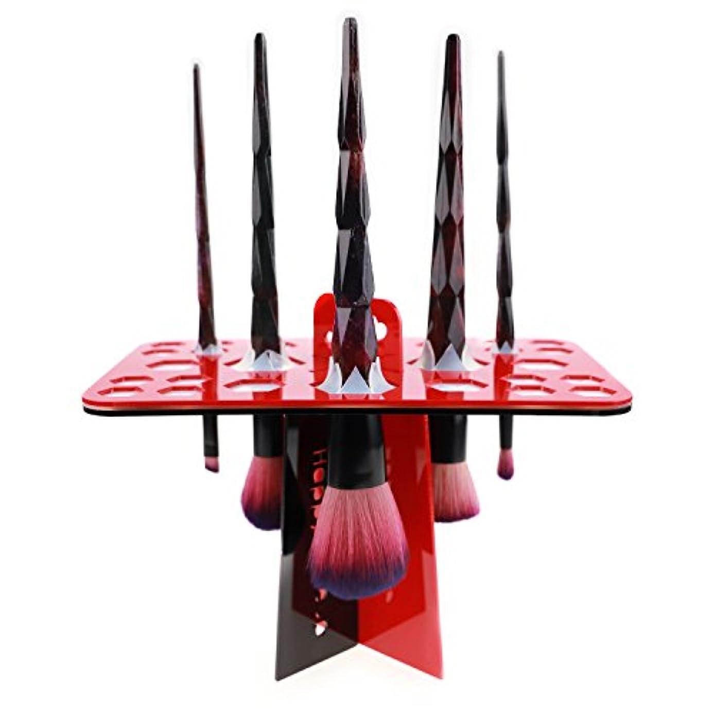 ヒューバートハドソンオーブン挽くメイクブラシスタンド 赤 化粧ブラシスタンド アクリル製 折畳み可 26本収納 レッド