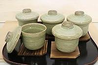 湯飲み 夫婦茶碗 天目茶碗 「季節の器」 よもぎ釉 むし碗揃 茶わん蒸し 茶碗蒸し