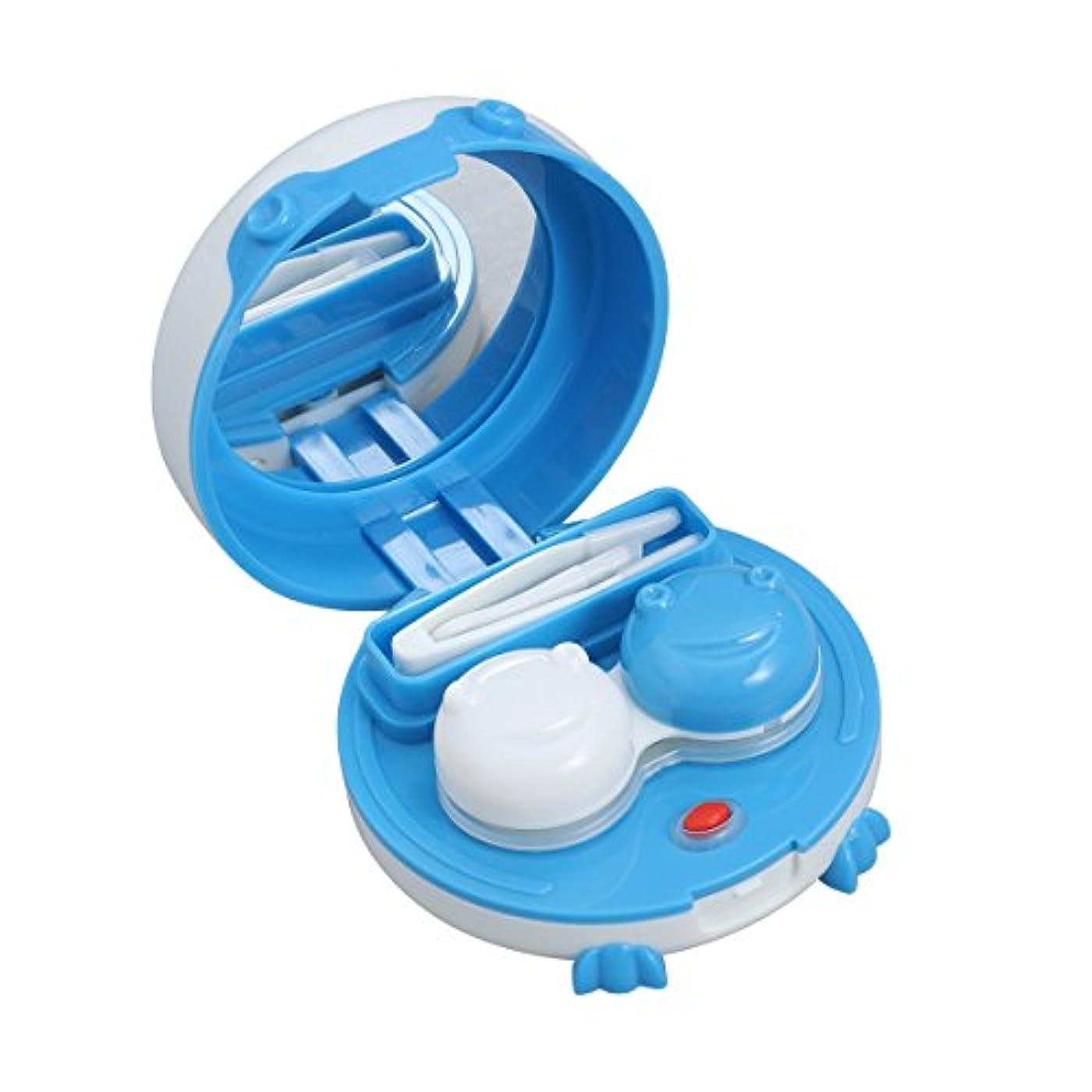 分注する風邪をひくクラウン家庭用およびトラベル用ミラーピンセットアプリケータおよびソリューションボトルレンズ収納ボックスコンテナ付きコンタクトレンズトラベルケースホルダー
