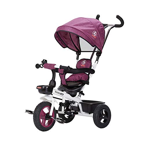 Boso 子供三輪車 回転式 一台四役 幼児用トライク 9ヶ月から6歳まで使える ノーパンクタイヤ 手押し棒付き サンシェード お出かけ 乗用玩具 プレゼントに最適 (パープル)