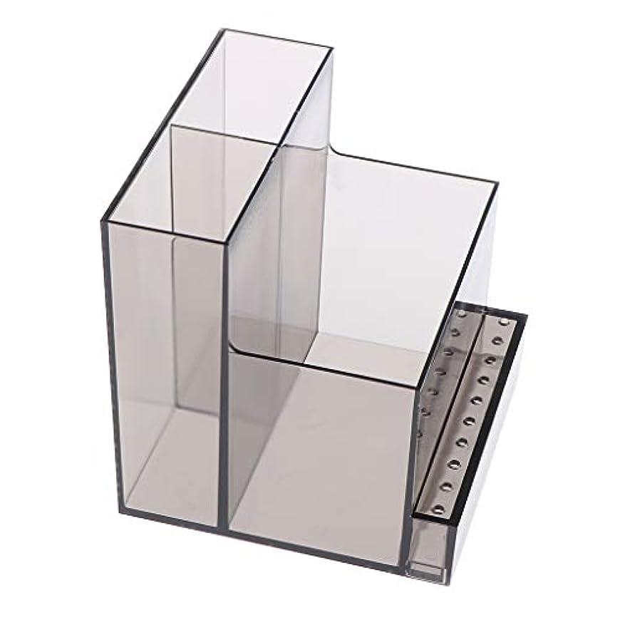 B Baosity ネイルドリルマシンホルダー アクリル製 収納ホルダー ボックス プロ ネイルサロン 2色選べ - ブラック