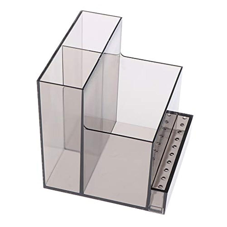 ドルスーツケースおいしいネイルドリルマシンホルダー アクリル製 収納ホルダー ボックス プロ ネイルサロン 2色選べ - ブラック