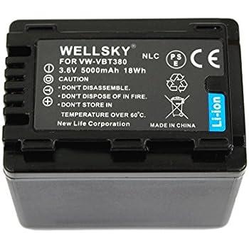 WELLSKY VW-VBT380 VW-VBT380-K 5000mAh 互換バッテリー [ 純正充電器で充電可能 残量表示可能 純正品と同じよう使用可能 ] Panasonic パナソニック HC-V210M HC-V230M HC-V330M HC-V360M HC-V480M HC-V520M HC-V550M HC-V620M HC-V720M HC-V750M HC-VX980M HC-W570M HC-W580M HC-W850M HC-W870M HC-WX970M HC-W585M HC-WX990M HC-WXF990M HC-WX995M HC-VX985M HC-WX1M HC-WZX1M HC-VX1M HC-VZX1M HC-WXF1M HC-WZXF1M HC-VX990M HC-VZX990M HC-VX992M HC-VZX992M HC-WX2M HC-WZX2M HC-VX2M HC-VZX2M HC-W590M HC-WZ590M