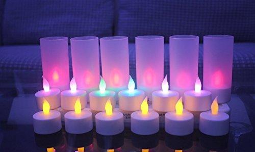 Jimeng 12個セット 充電式LEDキャンドルライト 間接照明 着火不要 揺らめいて見える ろうそく ゆらぎ (カラフル)