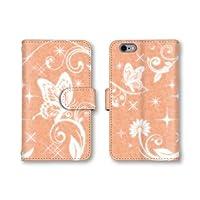 【ノーブランド品】 HTC J butterfly HTL23 スマホケース 手帳型 蝶 ちょうちょ オレンジ 橙色 かわいい おしゃれ 携帯カバー HTL23 ケース 携帯ケース