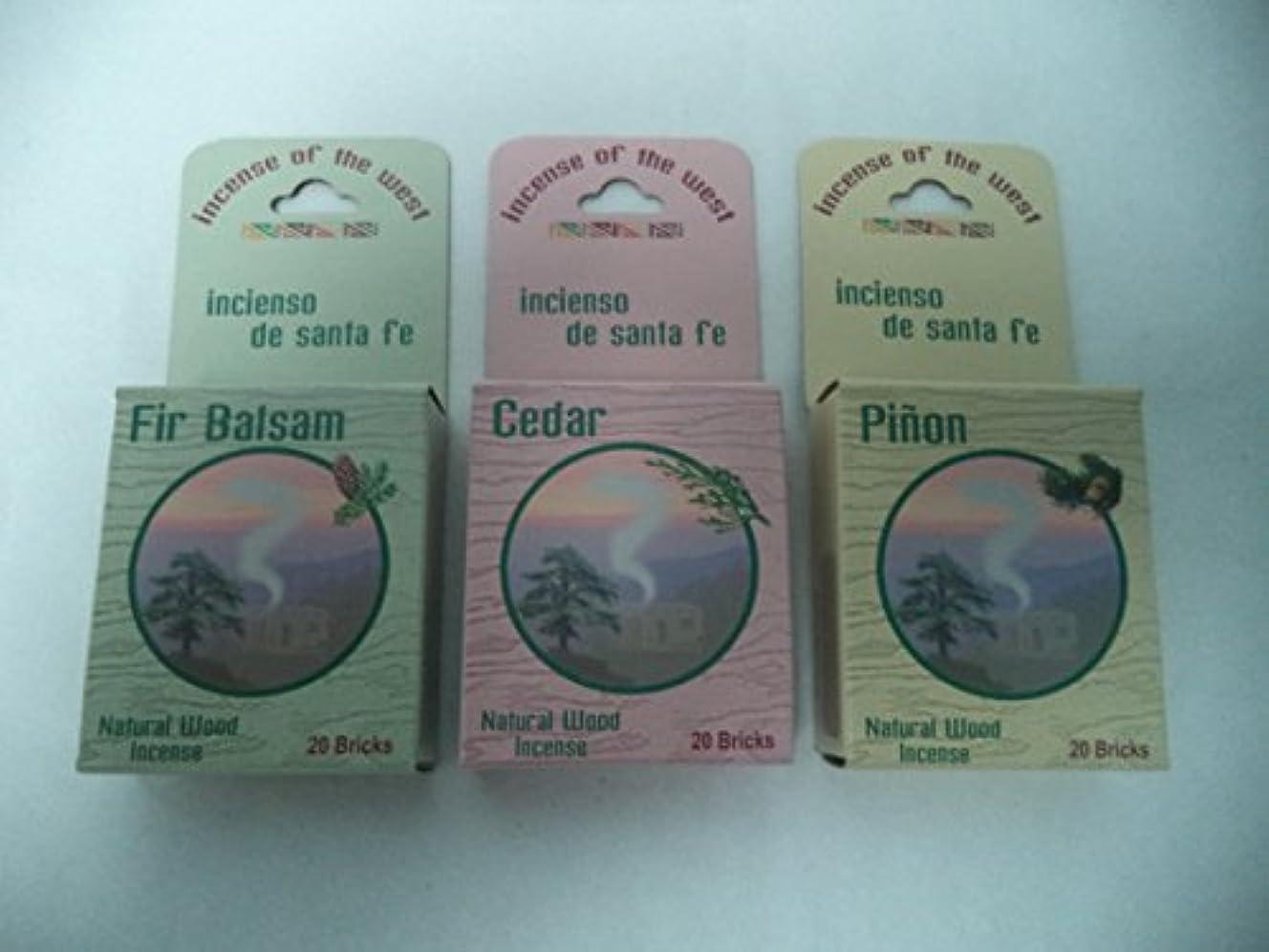 飢えメッセンジャー学期Balsam Fir 20 + Cedar 20 + Pinon Pine 20: 60 CHRISTMAS INCENSE CONES / LOGS by Incienso de Sante Fe