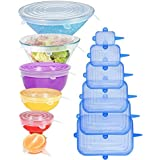 [12pack] Longzon Silicone Stretch Lids 6Pcs Clear Round 6Pcs Blue Rectangle, Reusable Durable Food Covers for Bowls, Cups, Ca