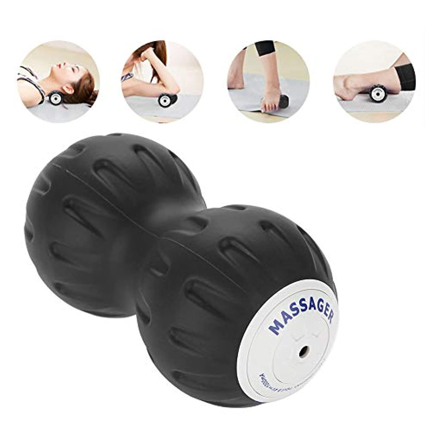 ピーナッツマッサージボール、電気二重ラクロスボール3スピード高輝度ヨガ枕筋肉リラックス筋膜マッサージローラー(US-Plug)