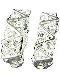 [RIVA Jewelry] クリップイヤリング ラウンドカット ファインダイヤモンド CZ [ホワイトトパーズ] 18K ホワイトゴールド メッキ, シンプル モダン 優雅【イヤリング】