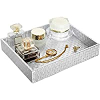 Faux Leather Cosmetics Tray,Catchall EDC Tray for Women Vanity Perfume Tray Valet Tray, Desktop Storage Organizer Box for Nightstand Dresser 10.2 x 8.4 x 1.8 inches (Silver)
