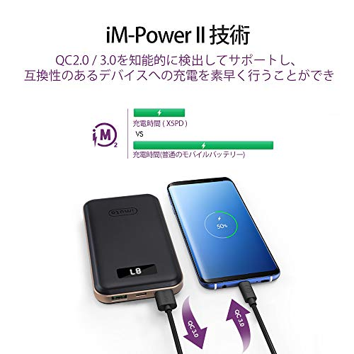 USB-C Power Delivery対応 モバイルバッテリー10000mAh QC 3.0/2.0 USB急速充電 残量表示 パソコン 充電 バッテリー 3台同時充電 iPhone XR XS Max X 8 Plus, Samsung S9 S8, Nintendo Switch,MacBook,ノートパソコン等対応 3枚目のサムネイル