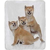 AOMOKI 毛布 シングル マイクロファイバー ひざ掛け 冷房/防寒対策 2枚合わせ 洗える 暖かい 保温 130x150cm 柴犬 子犬 犬柄