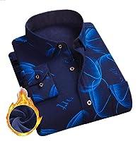 sayahe 男性印刷パターンは、トップをプラスベルベットロングスリーブシャツ Seven M
