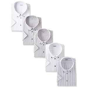 (アトリエサンロクゴ) atelier365 半袖 ワイシャツ 5枚セット 形態安定 ビジネスYシャツ クールビズ/sa02-M-39-SA02-Cset-SS-18