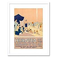 Travel Hornsea East Yorkshire Resort Sea Sand Beach Ship Framed Wall Art Print 旅行リゾート砂ビーチ船壁
