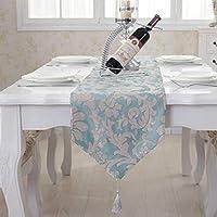 QY テーブルランナー シェニール テーブルフラグ ティーテーブルの旗 布 ダイニングテーブル カバータオル ホテル ベッドタオル テーブルフラグ 大柄 ダイニングテーブル ロングストリップ QY テーブルランナー (Color : Blue-green, Size : 33*180cm)