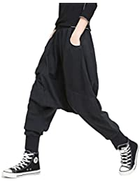 Morino サルエルパンツ レディース ダンス ポケット 黒 巻き ドレープ v系 ファッション パンク 男女兼用