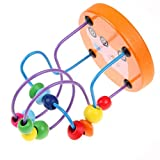 PULABO クリエイティブ木製ミニビーズ迷路ローラーコースターそろばんサークル玩具迷路知恵玩具赤ちゃんと幼児ランダムカラー で デザインが目新しい