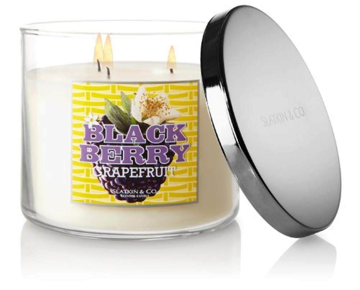 スラム街移行縮約Slatkin and Co。Blackberryグレープフルーツ3つWick 14.5オンスScented Candle – Bath & Body Works
