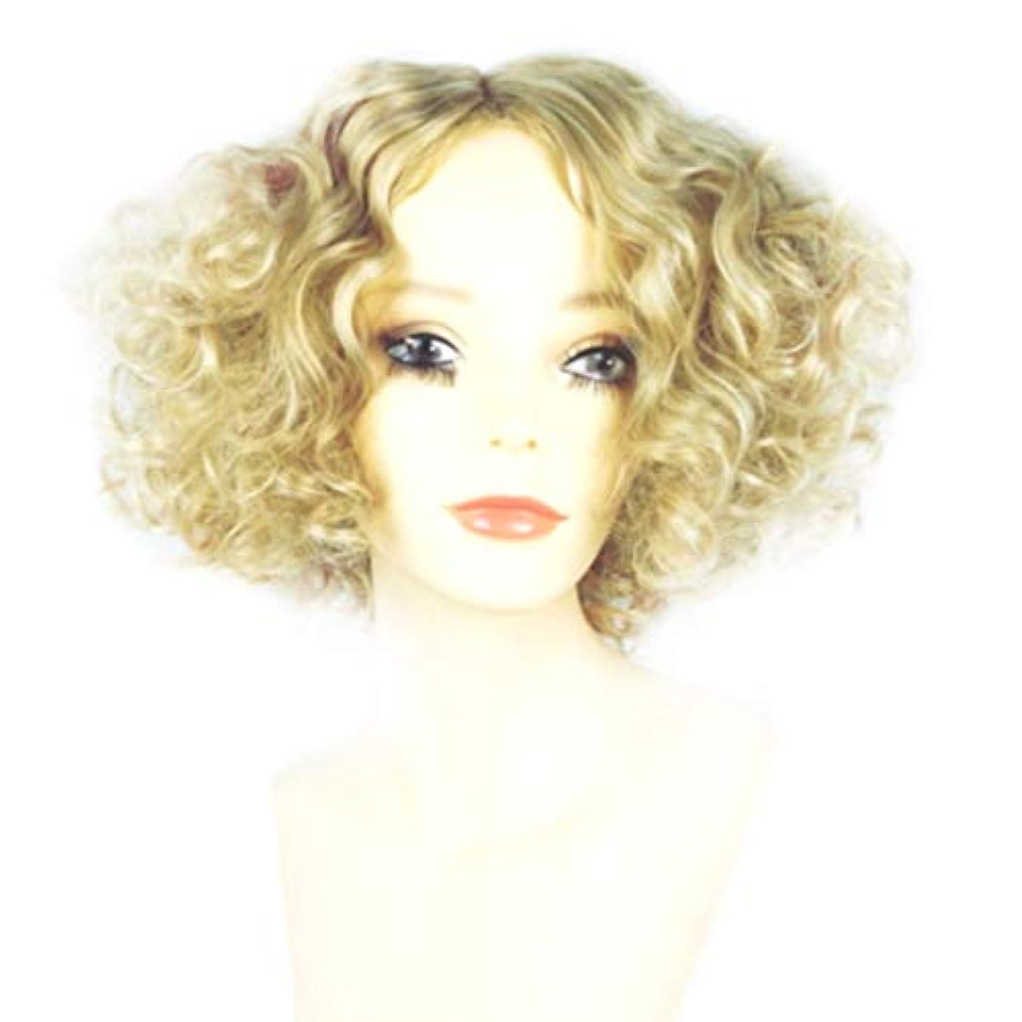 消すベース地理Kerwinner 女性のための短い巻き毛のかつらブロンドのボブの髪かつら自然に見える耐熱合成かつら