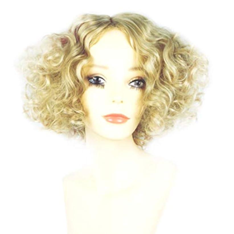 アストロラーベマントルデータムSummerys 女性のための短い巻き毛のかつらブロンドのボブの髪かつら自然に見える耐熱合成かつら