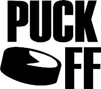 Hockey Puck Off ( Set of 2)プレミアム防水ビニールデカールステッカーforノートパソコンMacbookタブレット電話車ヘルメットウィンドウバンパーMug Tuber Cupドア壁装飾 4.4'' x 3.8'' ブラック ANG-93