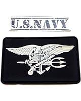 ワッペン 【 ネイビーシールズ 白頭鷲 パッチ 色選べます 】 Navy SEALs 米軍 アメリカンイーグル ( PVC 白頭鷲 (黒色)+U.S.NAVYシール) B135
