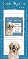 Golden Retriever Memo Padノートブックおよびマグネット写真フレームセット