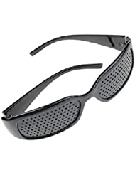 ユニセックス視力ビジョンケアビジョンピンホールメガネアイズエクササイズファッションナチュラル (Color : 黒)
