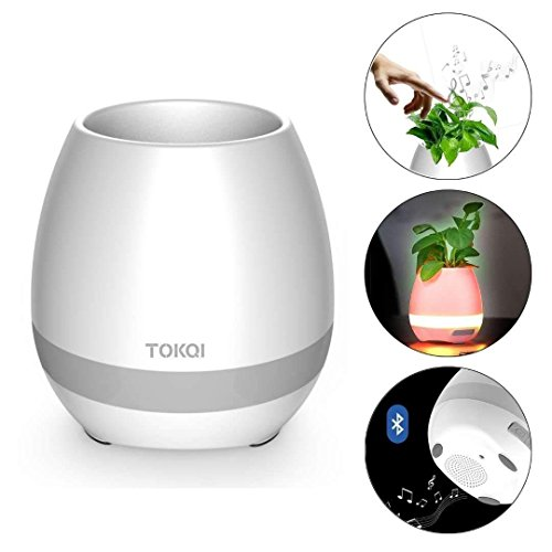 Bluetooth Speakers Rechargeable Smart Music Flower Pot with Colorful Breathing Night Light for Indoor/Outdoor Office Home Decor Festivel Gift (White/Plants DO NOT Included) (White)