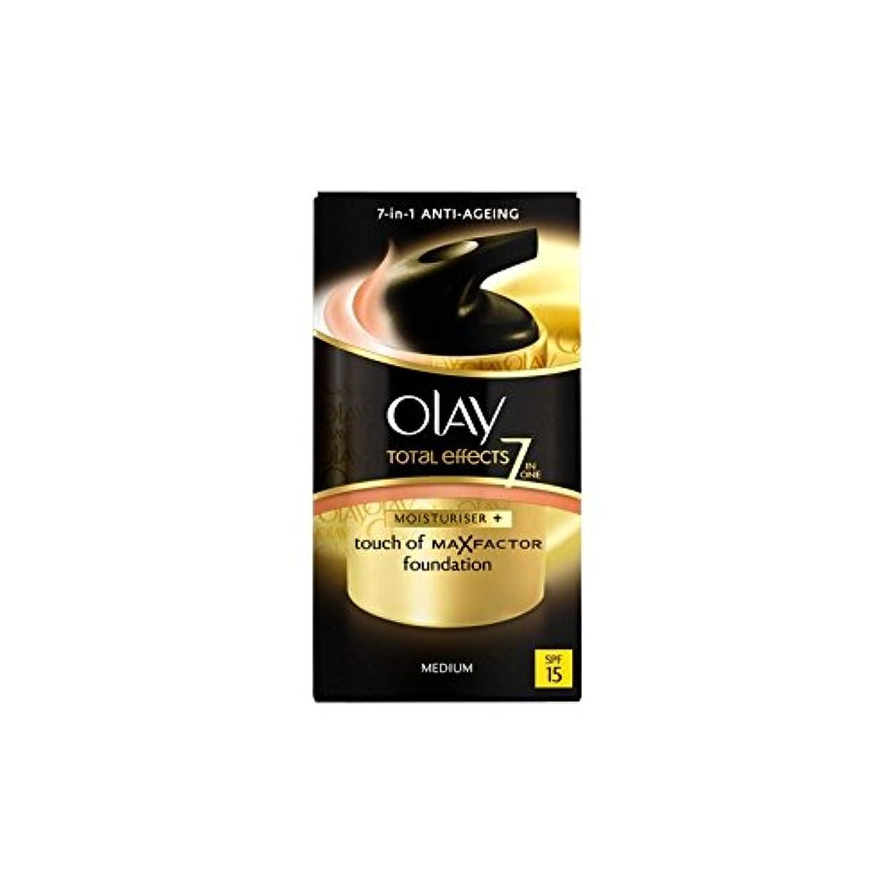 電気ノイズ色オーレイトータルエフェクト保湿クリーム15 - 培地(50ミリリットル) x4 - Olay Total Effects Moisturiser Bb Cream Spf15 - Medium (50ml) (Pack...