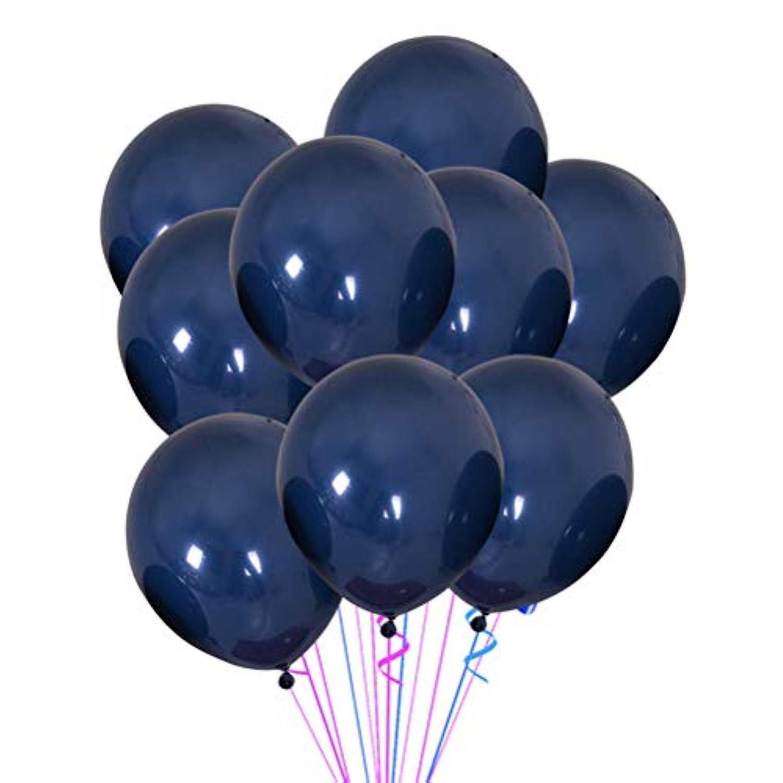 LEDMOMO 100個 10インチ ラウンド ラテックス バルーン 結婚式 誕生日 ベビーシャワー お祝い記念日 パーティー用品(ブルーブラック)