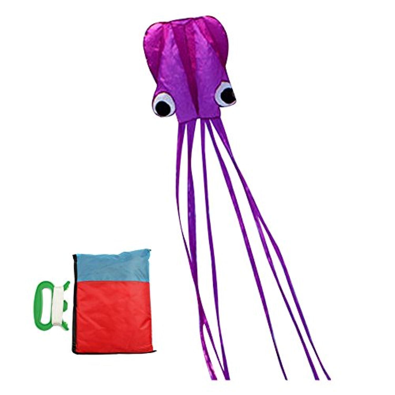 cestlafit美しい大規模ソフトウェアOctopus Easy Flyer Kiteキッズ用、ポータブルKite Perfect forビーチや公園、5 M Parafoil Kite with 262 ftケイト文字列 パープル HFK001-P