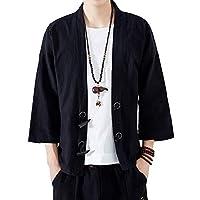 メンズ 和式パーカー 七分袖 カーディガン 麻 コート 無地 和風 シンプル トップス 開襟シャツ ゆったり カジュアル おしゃれ 大きいサイズ 個性 M
