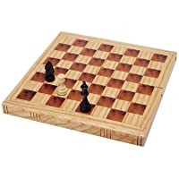 WE Games Book Style Folding Chess Set - Oak Wood Board 11 in.