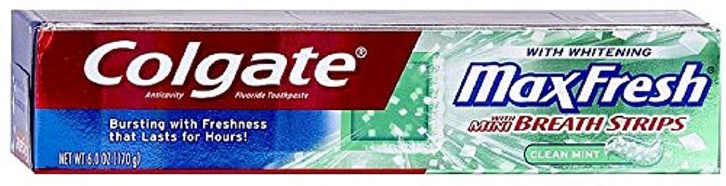 トランスペアレント小包慣性Colgate ホワイトニングブレスストリップクリーンミントハミガキ6.0オンスでMaxfresh(2パック)
