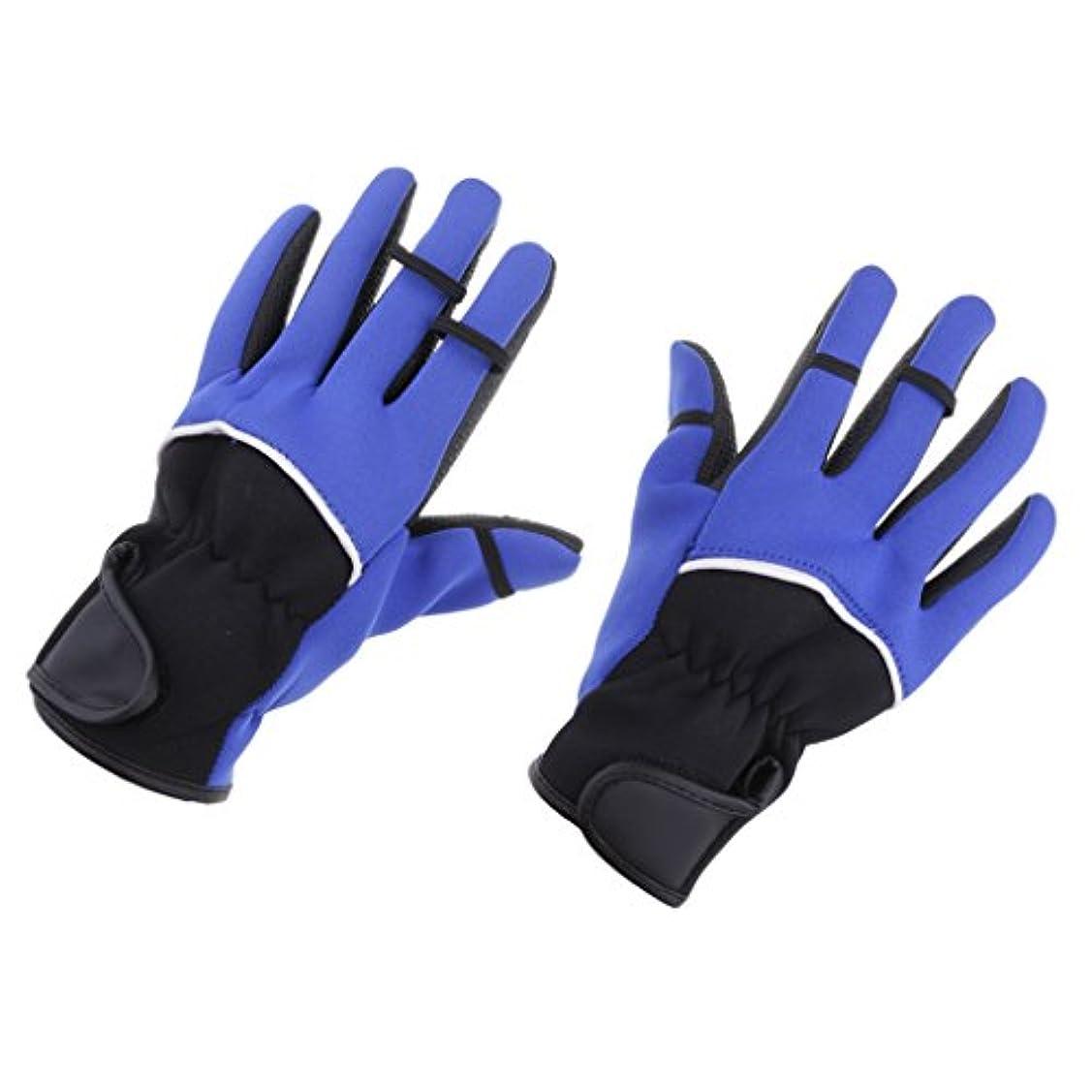 フェミニンシートピアニストBaoblaze 乗馬 自転車 釣り手袋 防寒手袋 グローブ 指3本出す PU粒子 滑り止め 保暖 軽量 吸汗 ブルー