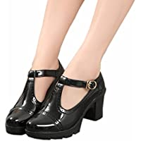 DADAWEN Women's Classic T-Strap Platform Mid-Heel Square Toe Oxfords Dress Shoes