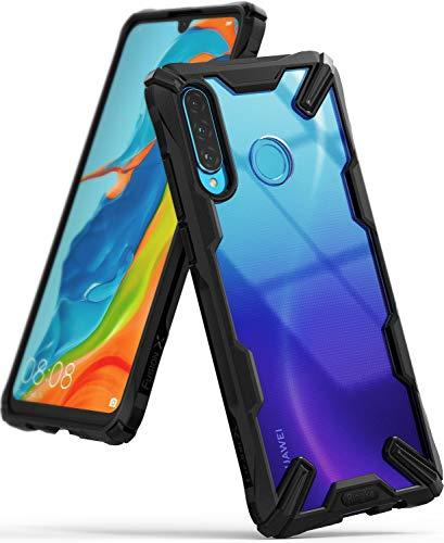 【Ringke】Huawei P30 Lite ケース (2019) 対応 コスパ最高 ストラップホール 落下衝撃吸収 スマホケース [米軍MIL規格取得] TPU PC 2重構造 スマホケース 吸収耐衝撃カバー 背面クリア Qi ワイヤレス充電対応 Fusion-X (Black/ブラック) P30 Lite ケース