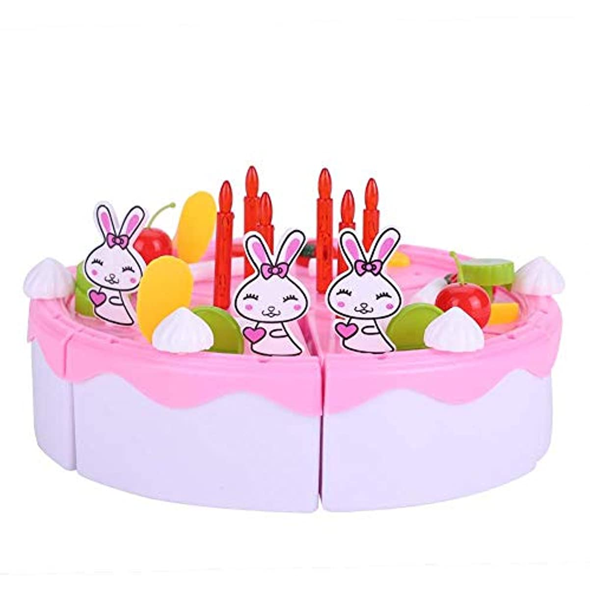 登録する膜応答誕生日ケーキのおもちゃ DIYのケーキおもちゃ 子供のフルーツ誕生日ケーキ切断おもちゃ ロールプレイの食糧切断のおもちゃ(ピンク)