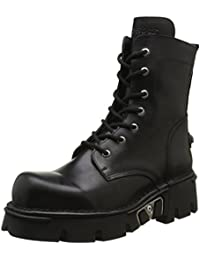 New Rock Shoes - Unisex Black Leather Combat Boots with Heavy Soles