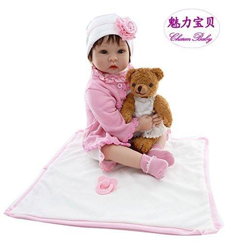 チャームベビー22インチ/ 55cmソフトビニールシリコンヘッド&手足、ソフトボディピンクReborn Baby Girl Realistic Looking Newborn Doll with磁気口& Teddy Bearおもちゃwithドレス