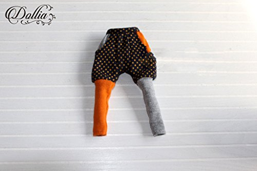 (ドーリア)Dollia ブライス 1/6ドール用 アウトフィット カラー 切り替え ショートパンツ付きレギンス ドット オレンジ×グレー ネオブライス ドール 人形 (ショートパンツ)