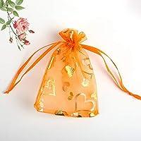 ギフトバッグ - ゴールデンハートギフト返却パッケージ、化粧品サンプル、サイズオプション(10パーパック) ハイプル (Color : Orange, Size : 9*12cm)