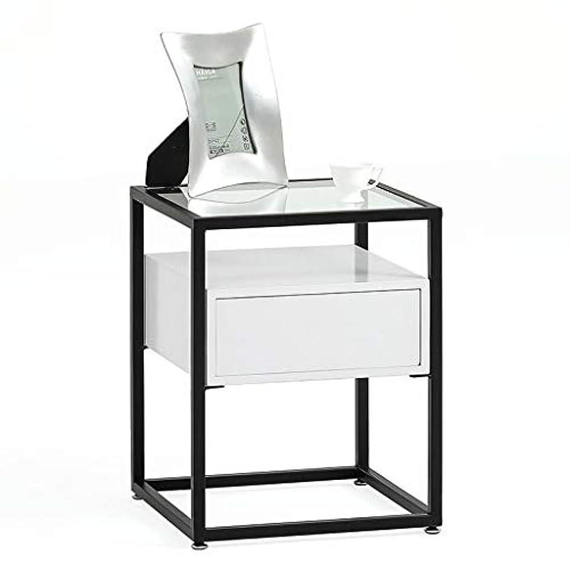 HY 小さなコーヒーテーブルコーナーテーブルリビングルームソファーガラス小さなサイドテーブル北欧 (色 : 黒)