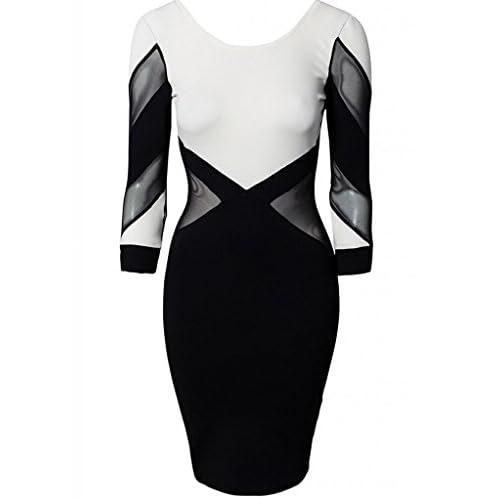 (ラボーグ)La Vogue ボディコン レディース ワンピースドレス キャバ 二次会 タイト着痩せ 長袖 透け感配色 ミニ丈ワンピース 黒白色